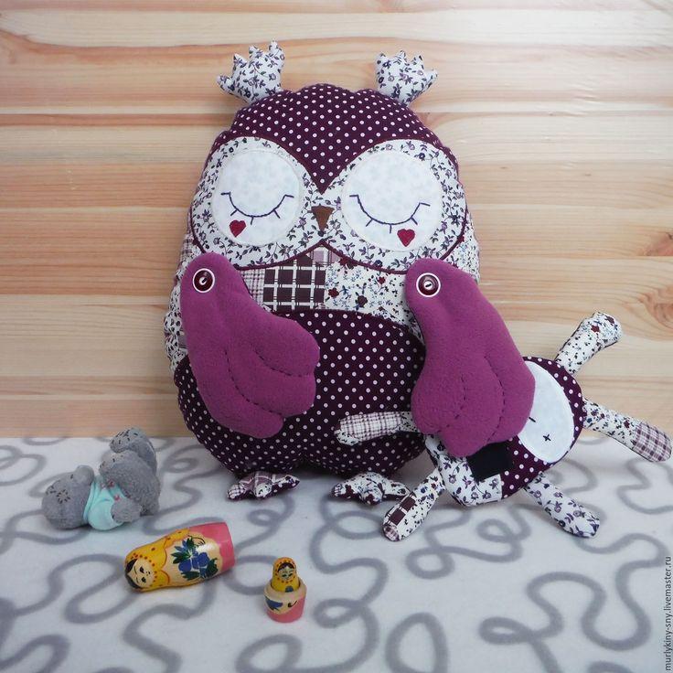 Купить Подушка-игрушка Сова Сплюшка - фиолетовый, игрушка ручной работы, игрушка в кроватку