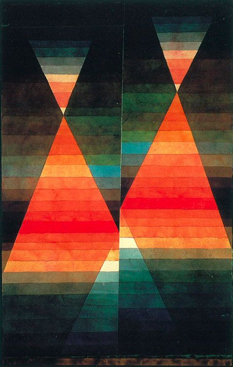 Painted by Paul Klee in 1923, during the Cubism movement. Key characteristics of this movement includes the emphasis of the two-dimensional of the canvas and the appearance of broken objects and then reassembled. This work uses 2D shapes to create the triangle and it also seems to be cut up into pieces.
