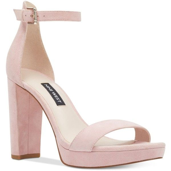 Nine West Dempsey Platform Sandals ($89) ❤ liked on Polyvore featuring shoes, sandals, pastel pink suede, pink suede sandals, nine west, suede platform shoes, suede leather shoes and pastel shoes