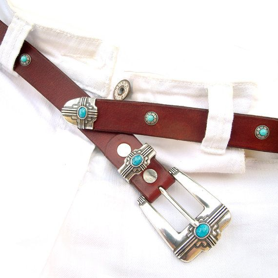 Leather belt Native style leather belt with turquoise by JeansBelt