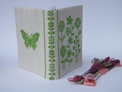 Scandinavian Cross Stitch A6 Journal Cover - Bright Green