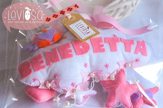 **Leviòsa**  Newborn baby nursery decoration/ felt cloud with owl and baby name - Fiocco nascita/decorazione cameretta nuvola con gufetto https://www.facebook.com/Leviosa.blog