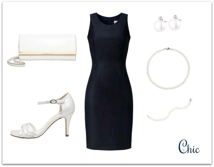 Evening outfit navy dress. Sukienka Monika Kamińska, sandałki Tamaris, biżuteria Apart