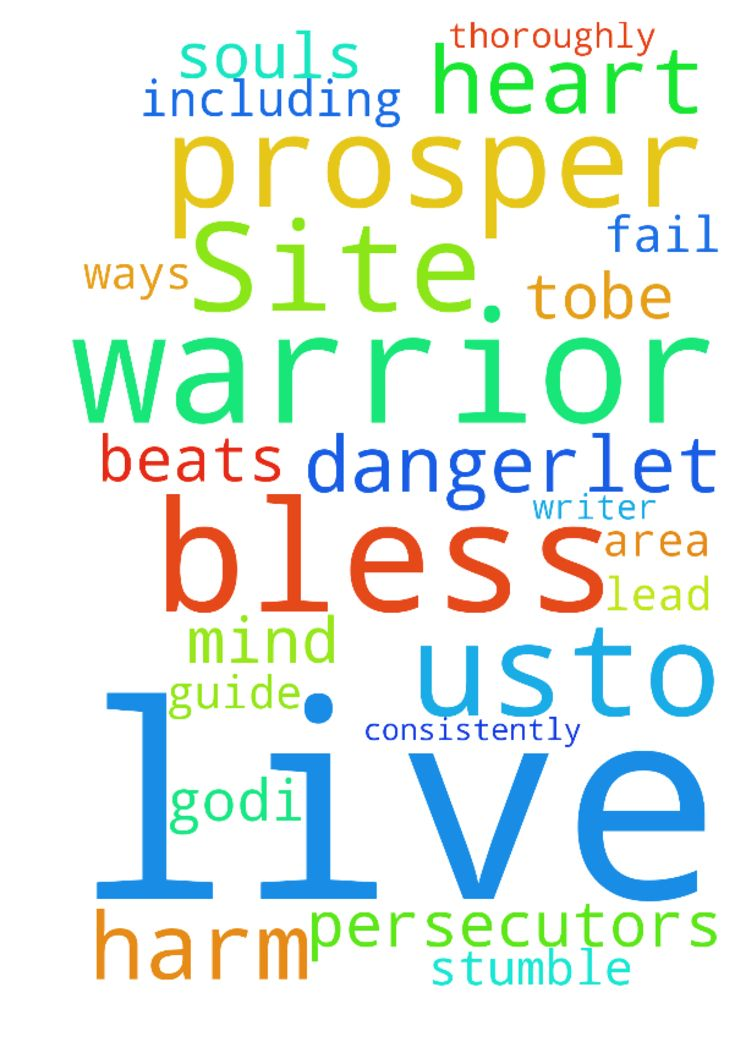 Bless The Prayer Warriors On This Site! -  Lets Pray GodI ask You in Jesus name bless each and every active prayer warrior on this prayer site including myself and the writer of this prayerwith a heart that beats to please You. Let the mind that is in Christ Jesus be in each of us. Blesseach of usto prosper in every area of our lives. Bless us tobe in excellent health, and causeour souls to prosper consistently in the Word and Ways of God. Lead, guide, and directour footsteps daily. Help us…