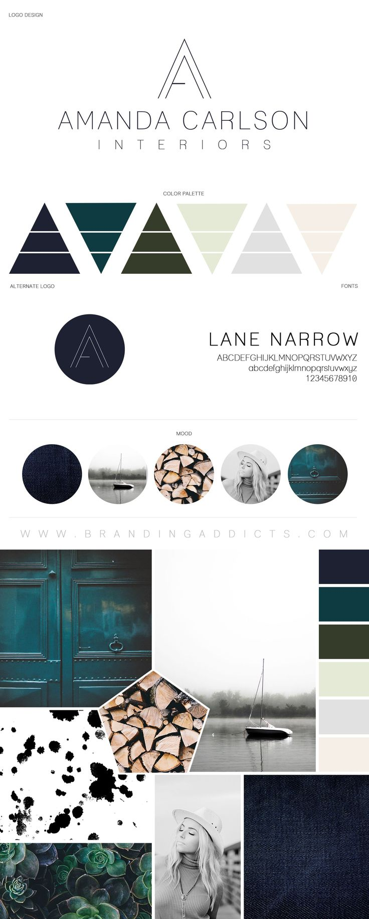 Branding Addicts New Brand Board. Modern and Tranquil Design. Rustic meets relaxation with a touch of industrial design. Wood logs. Interior Designer. Succulents and Denim Texture. Added coolness with the cohesion of Emerald, Forrest Green, Grey and Mint Green. Stylish relaxation and comfort all with a pop of boldness.  Professional Business Branding by Designer Laine Napoli. Web Design, Logo, Mood Board, Brand Boards, and more. Contact for Pricing: www.brandingaddicts.com