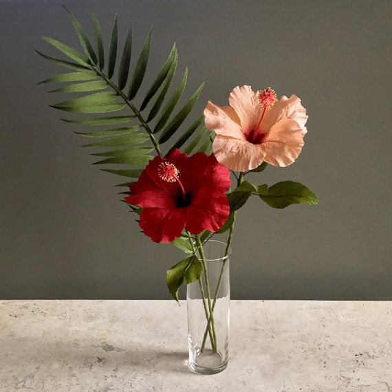 Crepe Paper Tropical Bouquet Hibiscus And Palm By Nectarhollow