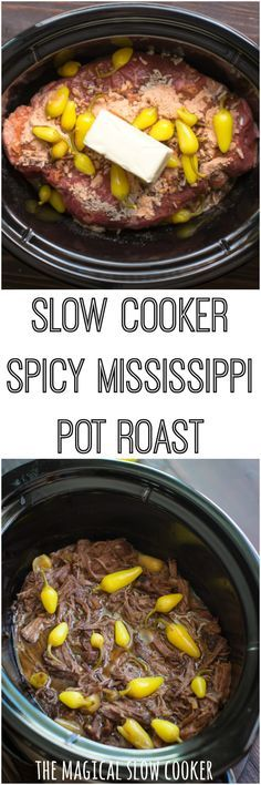 Slow Cooker Spicy Mississippi Pot Roast #crockpot #slowcooker #mississippi #mississippiroast