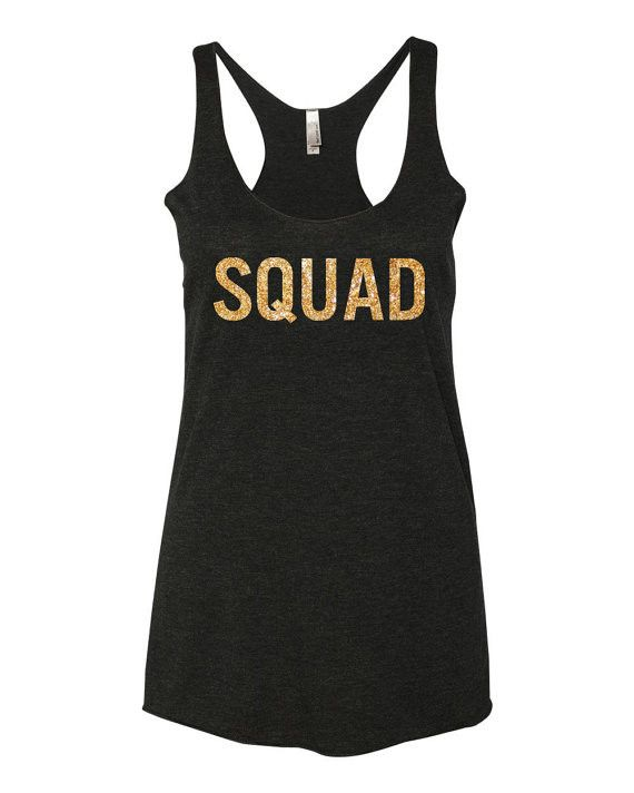 Squad Bachelorette Tank Top With Gold Print Products Glitter And Tops