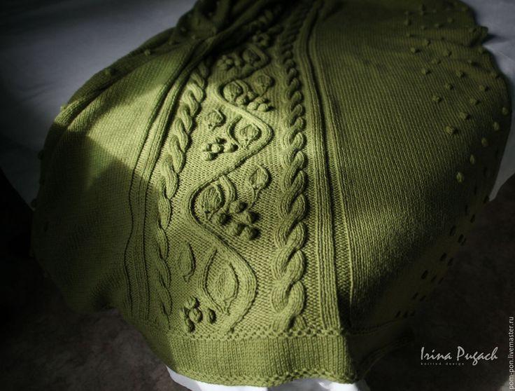 Купить Плед Фисташки вязаный полушерстяной ручная работа - плед вязаный, покрывало на кровать, плед