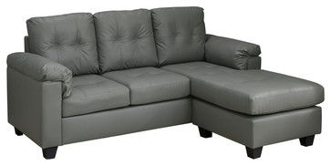 Sofa Lounger, Light Gray Bonded Leather transitional-sectional-sofas $512