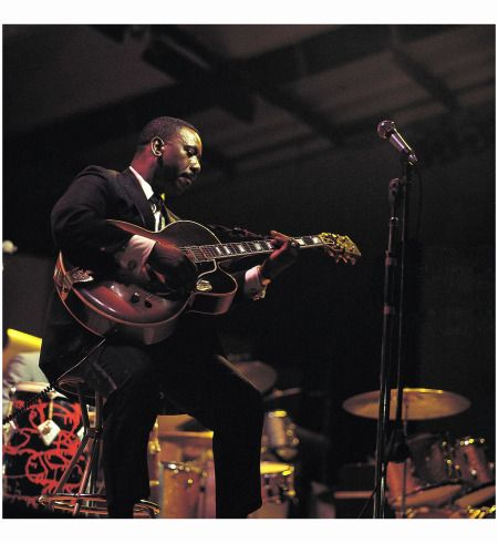 Wes Montgomery performs on stage at the Newport Jazz Festival on July 3rd 1967 in Newport, Rhode Island. Photo David Redfern