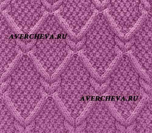 Узор для вязания спицами ромбы из кос 975