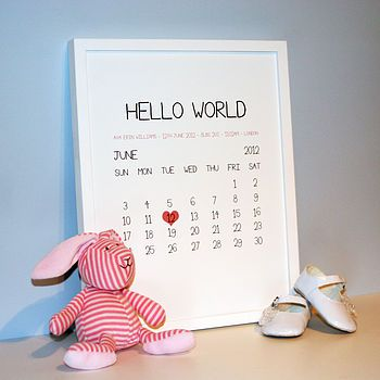 Personalised baby birth date print: Lovely gift for a newborn and keepsake.