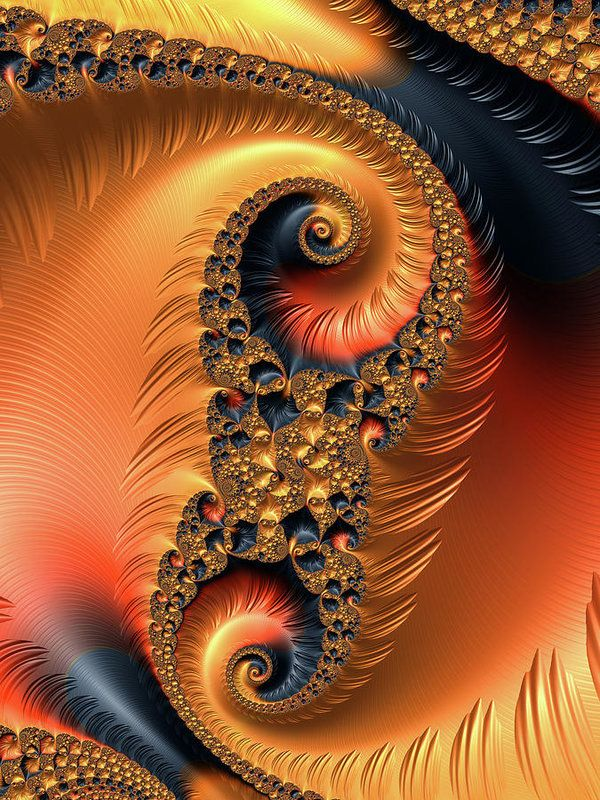 Fractal Spirals Art Print for sale. Decorative abstract art with wonderful warm tones: orange, coral, chocolate, khaki, sandybrown, and black. Available as poster, framed print, metal, acrylic or canvas print, click through and check out your options. Art for your Home Decor and Interior Design by Matthias Hauser.