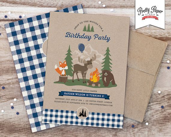Woodland Camping Birthday Party Invitation / Navy & Ivory Buffalo Plaid / First Birthday Invite / Boy Girl / Fox Moose Bear
