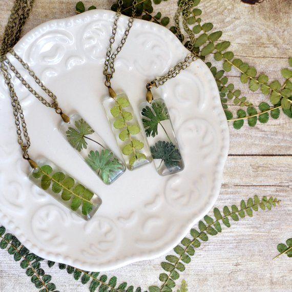 Terrarium Halskette, Natur Farn Halskette Eco Harz, Geschenk unter 40, Terrarium Halskette, natürliche Schmuck