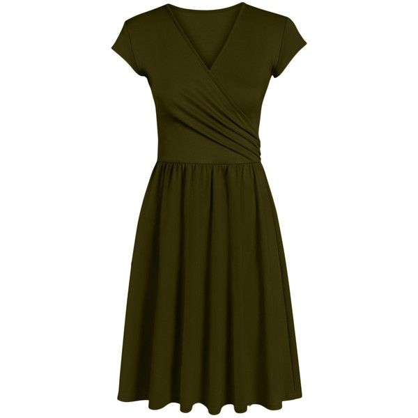 Simlu Womens Short and Long Sleeve Wrap Dresses with Gathered Waist... ($30) ❤ liked on Polyvore featuring dresses, brown long sleeve dress, short brown dress, long sleeve short dress, long sleeve wrap dress and brown dresses
