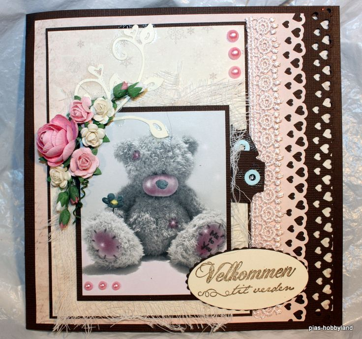 pink baby card girl rosa jente kort baby