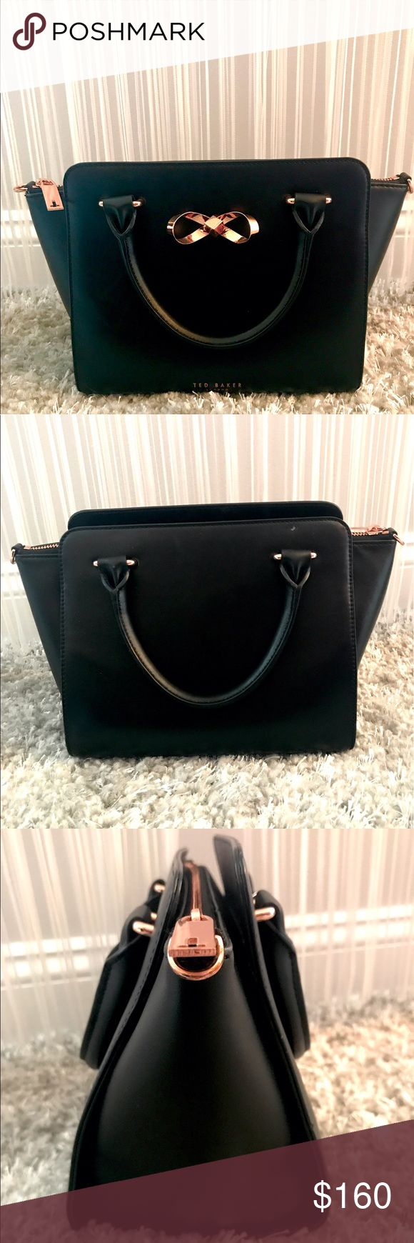 Ted Baker Mini Tote Bag  This is a Ted Baker mini tote black bag originally $350! It has rose gold accents on the zipper and the bow in the front. Ted Baker is written in the middle of the bag on the bottom and has a T on the zipper. It is spacious enough inside with 2 small compartments and one zipper compartment. Perfect for any outfit you choose!  Ted Baker Bags Totes
