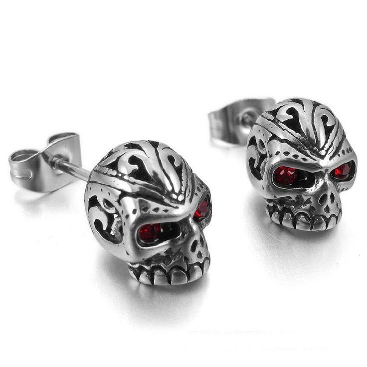 2017 New Cool Men Punk Rock Red Eyes Skeleton Skull Stainless Steel Stud Earrings Fashion Women Jewelry