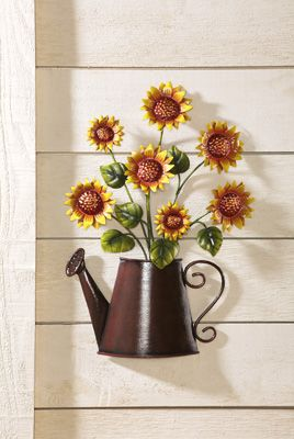 Country Sunflower Metal Watering Can Wall Decor