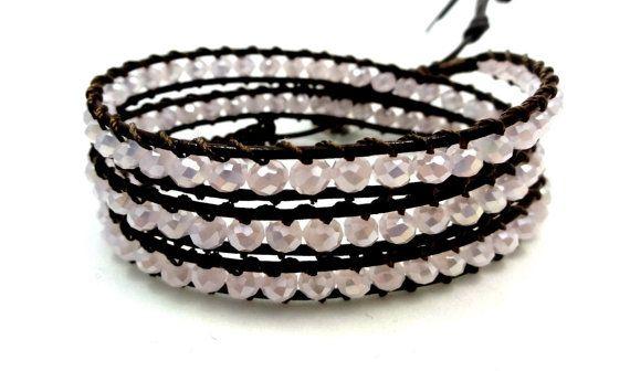 Leather Wrap Bracelet, Leather Bracelet, Crystal Bracelet, Crystal Wrap Bracelet, Triple Wrap Bracelet, Bohemian Bracelet, Gift for Her