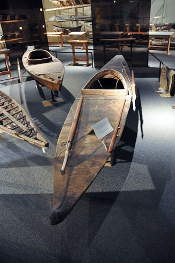 Antique canoes on exhibition at the Canadian Canoe Museum in Peterborough, Ontario, Canada.