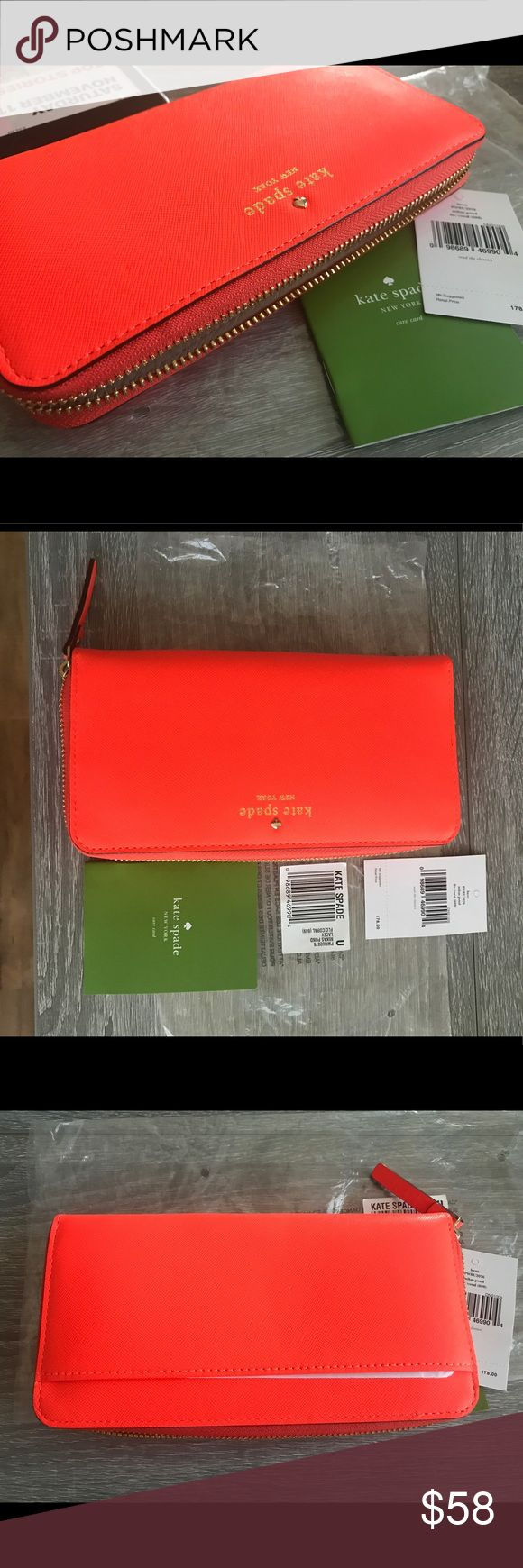 Kate Spade Mikas Pond Zip around wallet NWT New with tags, purchased from store but end up never using it. Bright orange color, saffiano leather. kate spade Bags Wallets