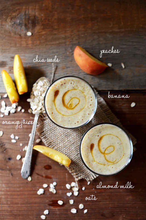 Vegan Peach, Oat & Chia Smoothie
