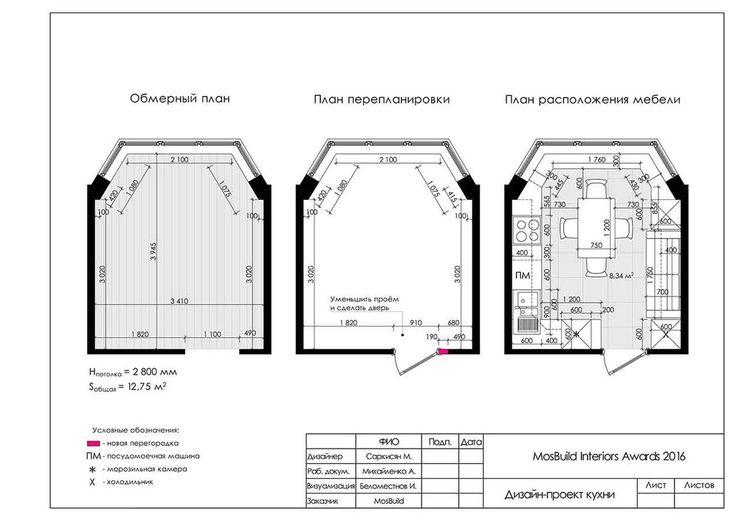 Кухня и столовая П-44Т, морской стиль в интерьере