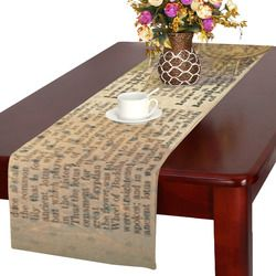Brown Book Ephemera Table Runner 16x72 inch