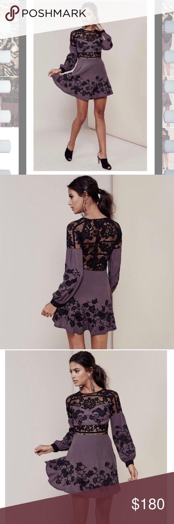 For love and lemons Isabella dress Sexy- Romantic-Head turner  🌸🌸Insets of intricate openwork floral crochet define a figure-skimming minidress framed with long blouson sleeves. Gorgeous vined embroidery adds contrast to the fit-and-flare silhouette that's sure to have all eyes on you.🌸🌸 The back is breathtaking! Sexy! Hard to find color!  Self: 55% viscose , 45% rayon Contrast: 62.5% cotton , 37.5% nylon Dry clean only Unlined Hidden side zip closure Embroidered detail Sheer lace panels…