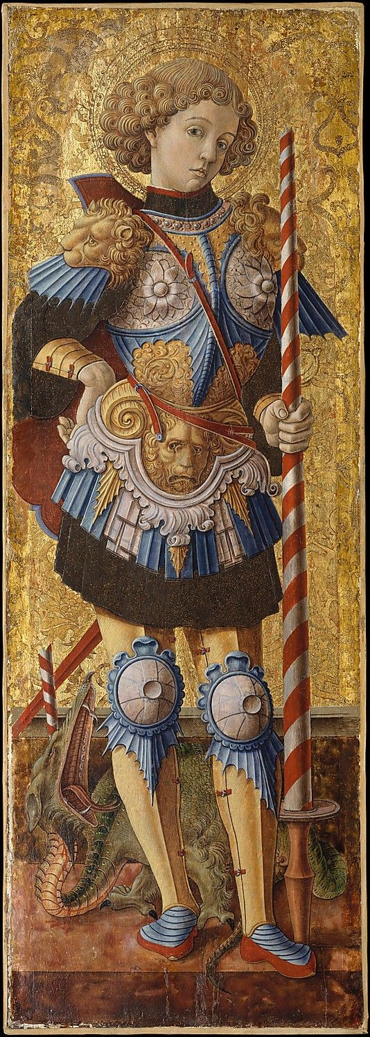 'Saint George' (1472) by Italian Renaissance painter Carlo Crivelli (c.1430-c.1495). Venetian. Tempera on wood, gold ground, 38 x 13.25 in. via the Met, NYC