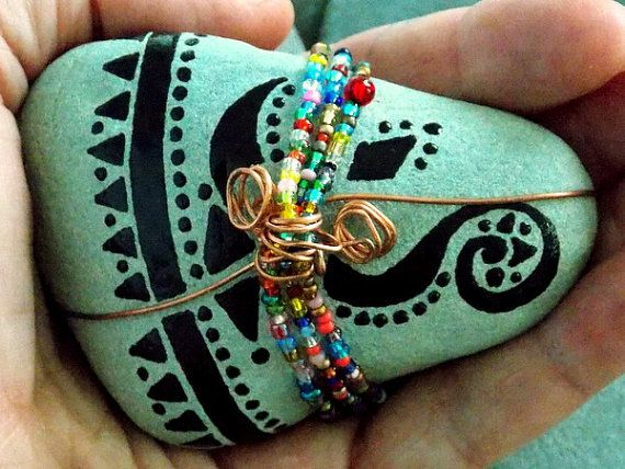 Life Blessings / Beaded, Copper wrapped,Painted Rock / Sandi Pike Foundas / Cape Cod Sea Stone/ on Etsy, $59.00