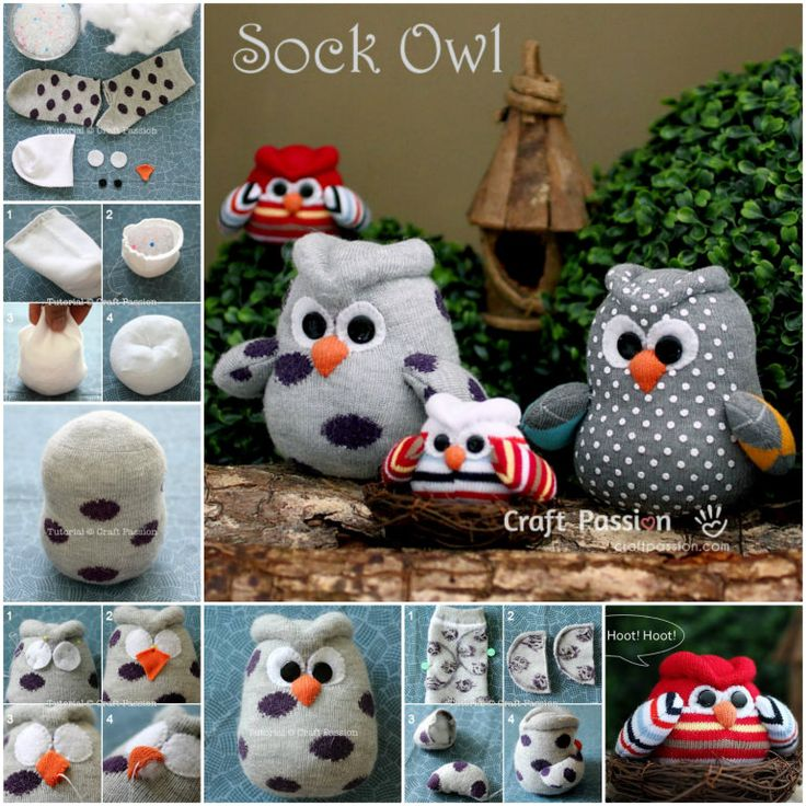 """Owl crafts are a """"hoot."""" They are so adorable , easy and simple to make as you just need a sock to start with. Sock owl tutorial--> http://wonderfuldiy.com/wonderul-diy-cute-sock-owl/"""
