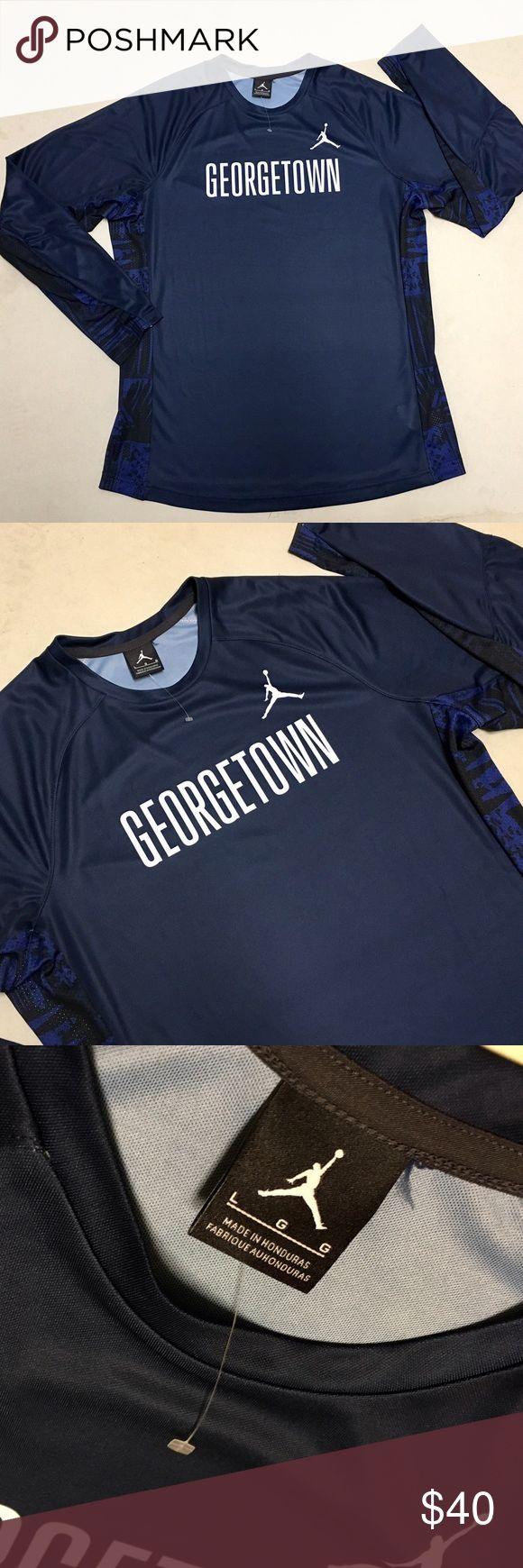 Georgetown - Jordan Men's Athletic Shirt Georgetown University Jordan Athletic Performance Long Sleeve  Banded sleeves Mesh print sides  100% Polyester   Size Men's Large   New without tags!!  💯 Jordan Shirts Tees - Long Sleeve