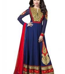 Buy Blue embroidered georgette semi stitched salwar with dupatta anarkali-salwar-kameez online
