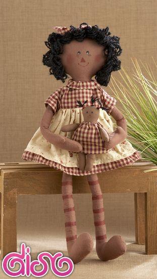 Muñecas de Trapo Raggedy - vestido rojo con muñequita - 40cm