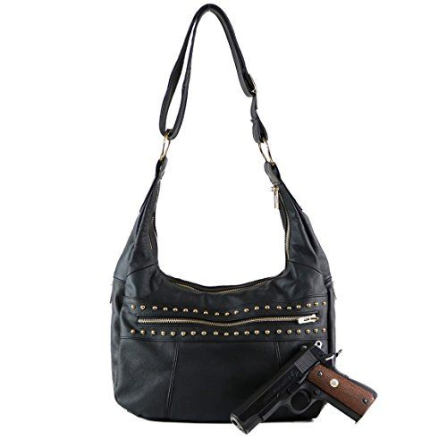 The Concealed Carry Marie Studded Hobo by It's in the Bag Boutique is a stylish bag with versatility. It is the perfect blend of function and style. The Concealed Carry Marie Studded Hobo is designed ...