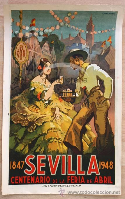 Cartel Centenario Feria de Abril Sevilla. 1848 1948. Ilust. Gustavo Bacarisas ORIGINAL Litografico