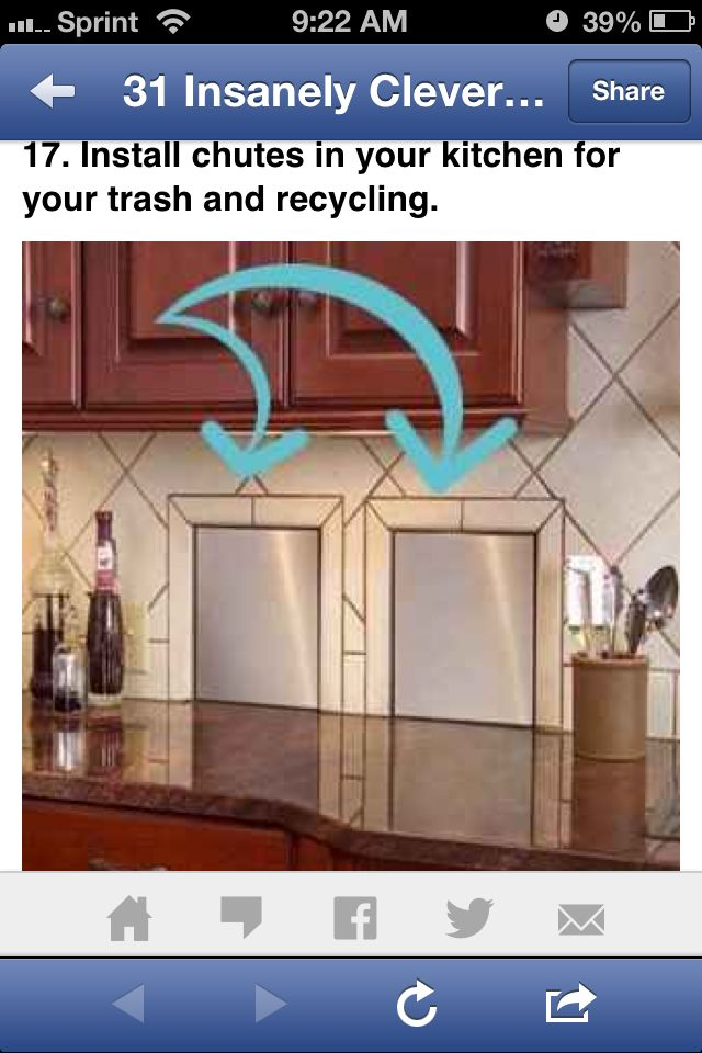 Recycle chutes from the kitchen to the garage. YES | New
