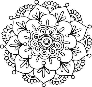 mandala pattern. Dibujo mandala flor de loto para estampar en camiseta, etc.: