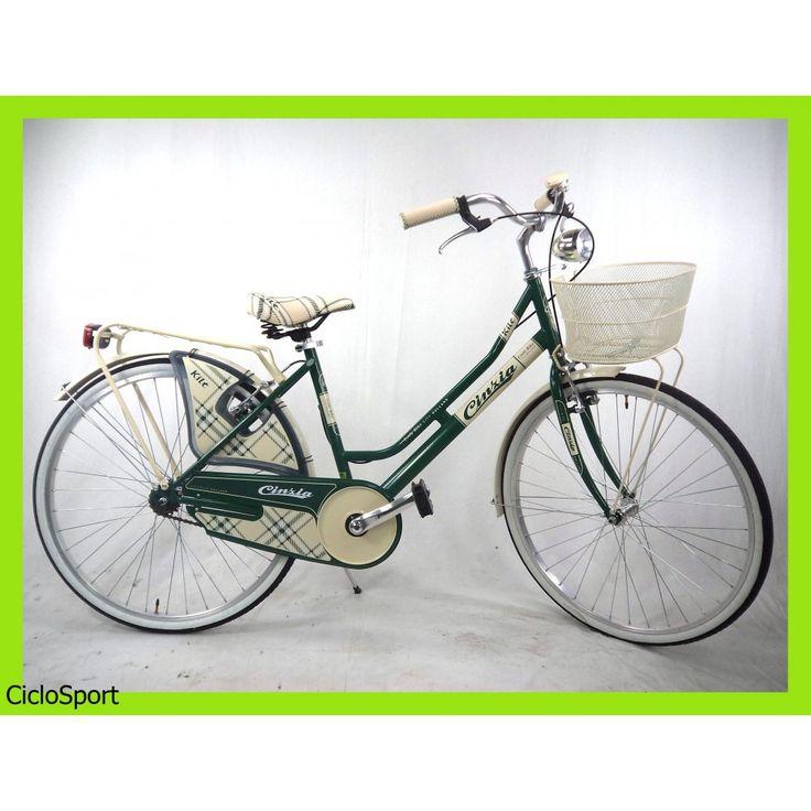 Merveilleux Bicicletta Cinzia City Bike Kilt De Luxe 26 Donna   Acciaio   Verde