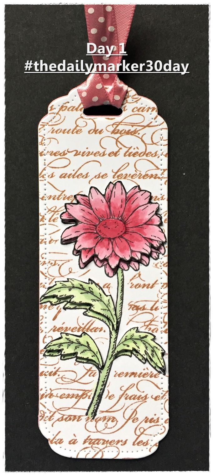 Bookmark with Daisy Stamp from Whimsy Stamps