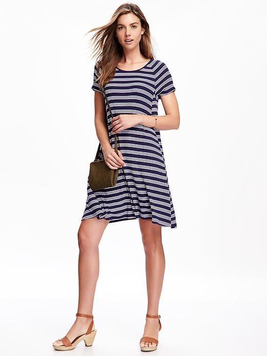 Old Navy, Rib-Knit Swing Dress for Women, Navy Stripe