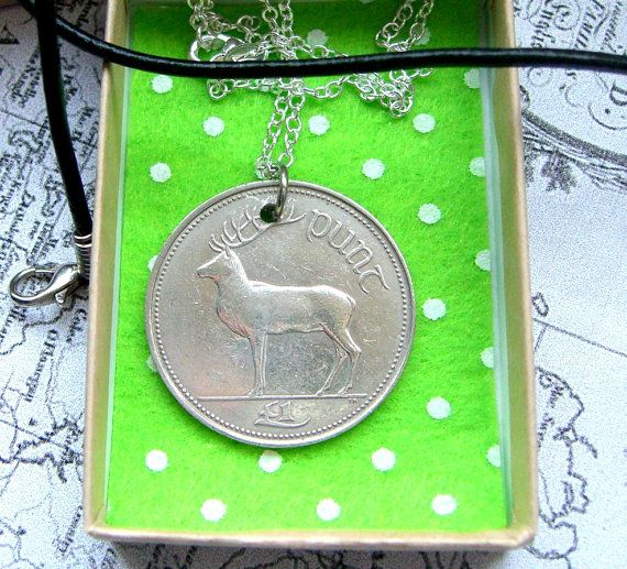 Irish punt vintage coin necklace  1990  Ireland  by IceMaidens