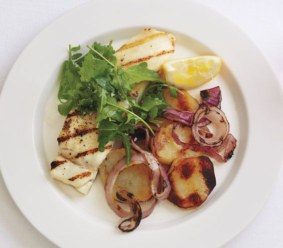 Grilled Halibut With Salt-and-Vinegar Potatoes: Recipes Recipes, Best Recipes, Food, Halibut Recipe, Heart Healthy Recipes, Grilled Halibut, Salt And Vinegar Potatoes, Real Simple, Fish Recipe