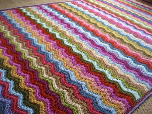 Attic24: Cottage Ripple Blanket ta-dah! With colour list (Stylecraft Special Dk), and ripple blanket knowhow tutorial  here: http://attic24.typepad.com/weblog/ripple-blanket-know-how.html Would use Aran. DK too light for me.