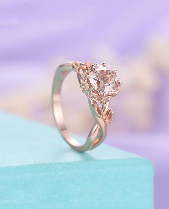 Ring Vintage Art Deco Antique Diamond Wedding Women Bridal Set Jewelry Anniversary Gift Custom Order Rush Installment Plan