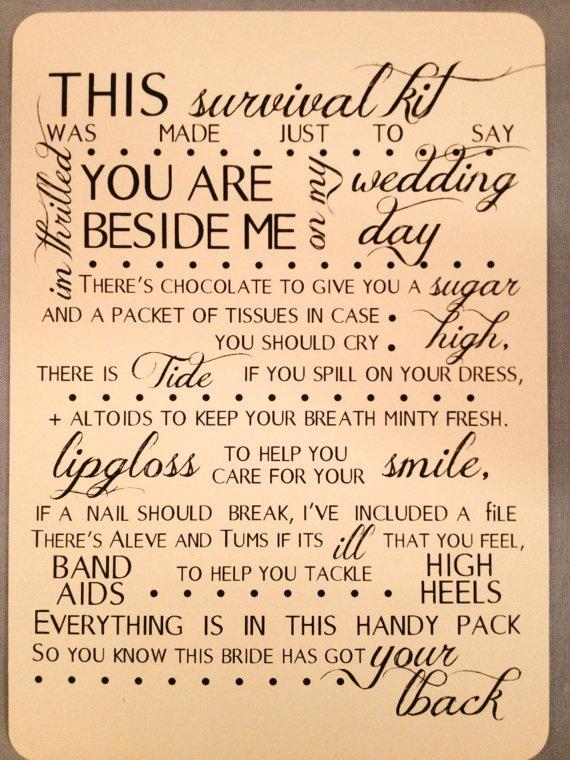 Bridesmaids Survival Kit Poem- Set of 8